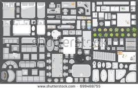 Floor Plan View Icons Set Interior Furniture Top View Stock Vector 699488815