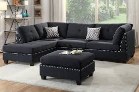 Ottoman Sofa Poundex F6974 Black Polyfiber Sectional Ottoman Sofa Set Ebay