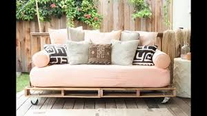 Pallet Patio Furniture Cushions by Diy Pallet Couch Youtube
