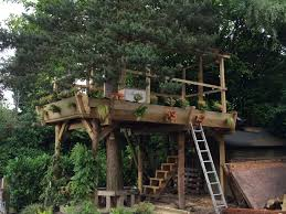 children s garden tree house viewing floral deck