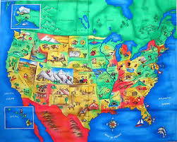 fabric traditions usa united states of america map scenic 100