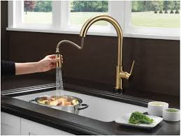 touch kitchen faucet faucet com 9159t cz dst in champagne bronze by delta