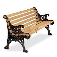 renaissance park bench with white oak slats and cast aluminum