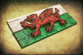 weathered wood one of a kind 3d welsh flag wooden vintage art