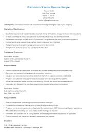 Scientific Resume Examples by Formulation Scientist Resume Sample Resume Samples