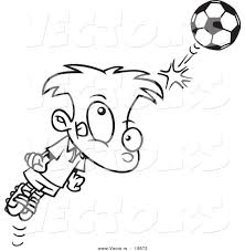 vector of a cartoon soccer boy bouncing a ball off his head