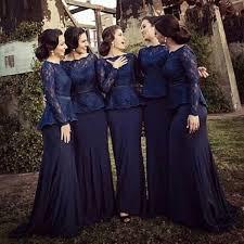 dark navy bridesmaid dresses 2017 scoop collar long sleeve lace