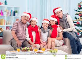 family christmas family by christmas table stock photography image 34845082