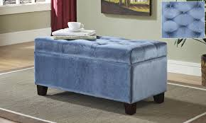 attractive blue storage ottoman round tufted storage ottoman blue