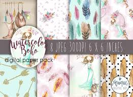 boho pattern paper watercolor boho paper shabby chic