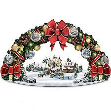 kinkade season s greetings wreath sculpture
