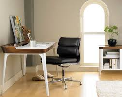 White Fluffy Desk Chair Furnitures Small Home Office With Black Desk And White Chair On