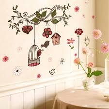 beautiful cartoon bird cage vine diy wall sticke stickers