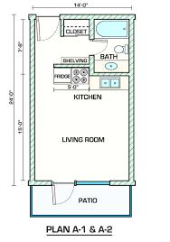 garage apartment plan 30032 total living area 887 sq ft 2studio