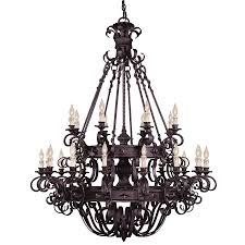 Forged Chandeliers Shop Shandy 48 In 24 Light Forged Black Candle Chandelier At Lowes