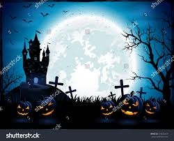 halloween background moon halloween pumpkins dark castle on blue stock vector 316623419