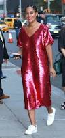tracee ellis ross wears shimmery pink dress in nyc daily mail online