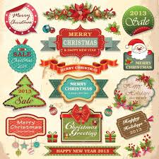 collection of christmas ornaments and decorative elements vintage