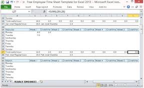 Excel Timesheet Template With Formulas Free Employee Sheet Template For Excel 2013