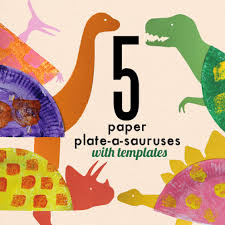 learn with play at home paper plate dinosaur craft for kids with