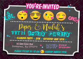 emoji twin birthday invitation sibling slumber party sleepover