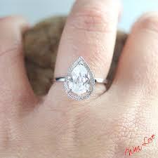 plain band engagement ring white sapphire pear halo plain shank band engagement