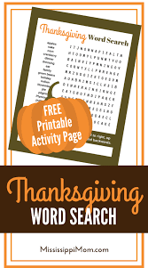 thanksgiving word search free printable activity page