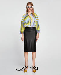 pencil skirts faux leather pencil skirt midi skirts woman zara united states