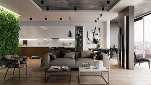 deco cuisine ouverte sur salon déco salon déco cuisine ouverte salon mur végétalisé canapé gris
