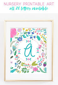 free printable art home decor free printable art girl initial prints kid printables printable