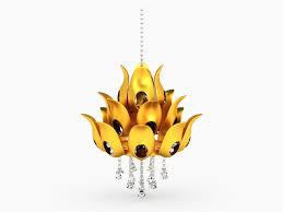 Lotus Chandelier Gold Lotus Chandelier Fixture 3d Model 3ds Max Files Free