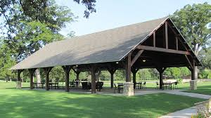 timber frame outdoor seating pavilion golf course project texas