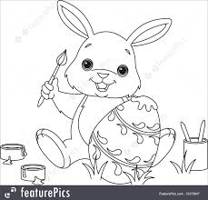 illustration of bunny painting easter egg coloring page