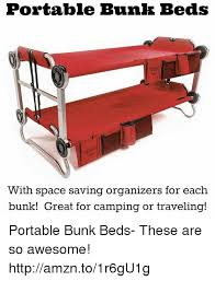 Portable Bunk Beds Portable Bunk Beds With Space Saving Organizers For Each Bunk