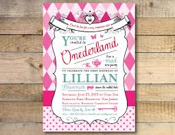 alice in wonderland invitation 1st birthday party
