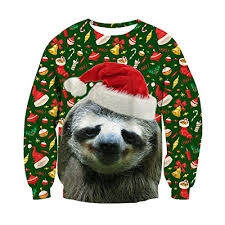 Ugly Christmas Sweater Decorations Raisevern Unisex Ugly Christmas Sloth Decoration Print Cute Xmas