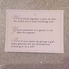 wedding gift etiquette 5 x wedding poem cards for invitations money gift honeymoon