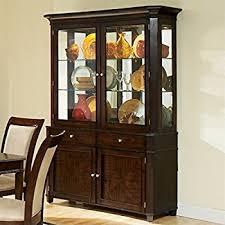 How To Display China In A Hutch Amazon Com China Cabinet Buffet Hutch With Brass Hardware Rich