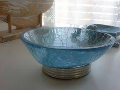Cracked Glass Bathroom Accessories Blue Crackle Glass Bath Q Tip Holder Jar Coastal Nautical Decor