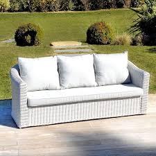 canape de jardin canapé de jardin 3 places blanc perle salon à composer