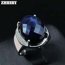 aliexpress buy mens rings black precious stones real men ring sapphire genuine solid 925 sterling silver