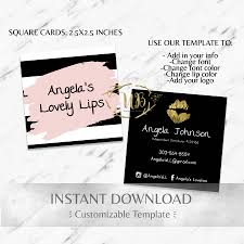 striped pink black gold square business cards lipsense business