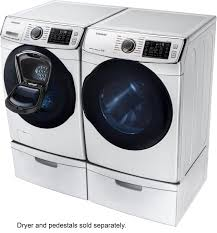 Samsung Pedestals For Washer And Dryer White Samsung 5 0 Cu Ft 14 Cycle Addwash High Efficiency Front Loading