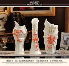 Large Floor Vases For Home Ceramic Red White Mask Flowers Vase Home Decor Large Floor Vases