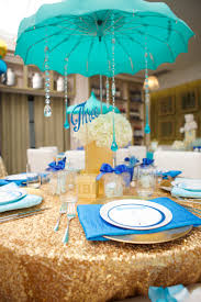 umbrella centerpieces for baby shower blue white and gold baby