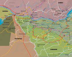 Botswana Map Victoria Falls Road Map From Botwana Zimbabwe