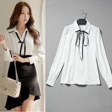 ribbon shirt 2018 formal office blouses with bow ribbon shirt women white linen