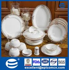 golden china pattern luxury dinnerware set for 12 person used golden tableware new bone