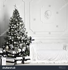 decorated tree black white patchwork stock photo