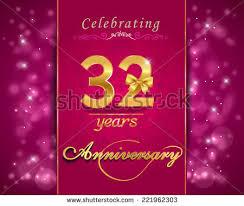 32nd wedding anniversary 32 year anniversary celebration sparkling card stock vector